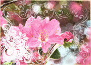Photomanipulation Photo Prints - Cherry Blossom art with decorations Print by Debbie Portwood