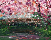 Amor Paintings - Cherry Blossom Bridge by Ash Hussein