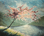 Blossom Tree Artwork Prints - Cherry Blossom by the Lake Print by Christopher Clark