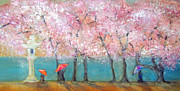 Cherry Blossoms Painting Prints - Cherry Blossom Festival Print by Elise Ritter