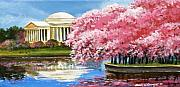 Cherry Blossoms Paintings - Cherry Blossom Festival by Sarah Grangier