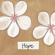 Brown Mixed Media Posters - Cherry Blossom Hope Poster by Linda Woods