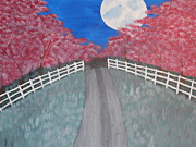 Cherry Blossoms Painting Originals - Cherry Blossom Path by Kimberly Hebert