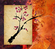 Parchment Mixed Media Framed Prints - Cherry Blossom Framed Print by Rob Tullis