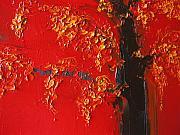 Cherry Blossom Tree - Red Yellow Print by Patricia Awapara