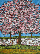 Cherry Blossoms Painting Prints - Cherry Blossom Trio Print by Tracy Levesque
