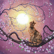 Tortie Paintings - Cherry Blossom Waltz  by Laura Iverson