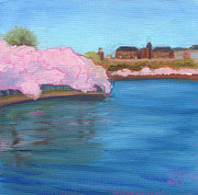 Tidal Basin Paintings - Cherry Blossoms and the Auditors Building by Julie Hart