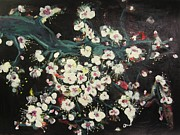 Cherry Blossoms Paintings - Cherry Blossoms At Night by Seon-Jeong Kim