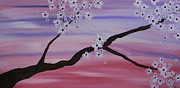 Cherry Blossoms Mixed Media Framed Prints - Cherry Blossoms At Sunrise Framed Print by Heather  Hubb