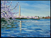 Washington Monument Paintings - Cherry Blossoms by Edward Williams