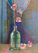 Bottle Painting Posters - Cherry Blossoms In A Bottle Poster by Arline Wagner