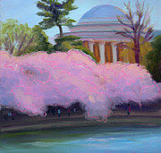 Tidal Basin Paintings - Cherry Blossoms in Afternoon Light by Julie Hart