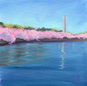 Tidal Basin Paintings - Cherry Blossoms in Washington by Julie Hart