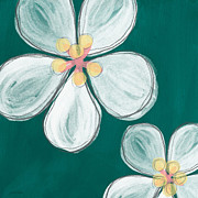 Teal Mixed Media Posters - Cherry Blossoms Poster by Linda Woods