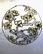 Asian Glass Art - Cherry Blossoms Stained by Ericka Ramos