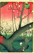 Cherry Blossoms Painting Prints - Cherry Blossoms Print by Utagawa Hiroshige