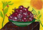 Reverse Art Glass Art Prints - Cherry Bowl Print by Enrico Pischiera
