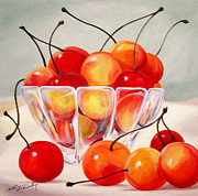 Warm Colors Paintings - Cherry Bowl by Shannon Wiley
