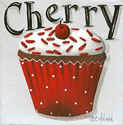 Catherine White Painting Metal Prints - Cherry Celebration Metal Print by Catherine Holman