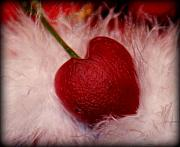 Heart Artred Cherry Heart Framed Prints - Cherry heart Framed Print by Linda Sannuti
