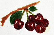 Fruits Glass Art - Cherry by Natalya A