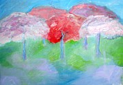 Cherry Blossoms Paintings - Cherry Orchard by Helen Betz