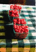 Farm Stand Framed Prints - Cherry Tomato Basket Framed Print by RG McMahon