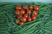 String Beans Prints - Cherry Tomatoes And Beans Are Sold Print by Cotton Coulson