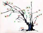 Cherry Blossoms Paintings - Cherry Tree by Straw by Helaine Cummins