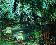 Harmony Painting Posters - Cherub Lake Poster by Joy Braverman