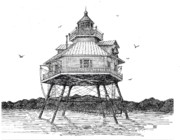 Maryland Drawings - Chesapeake Lighthouse by Ken Jones