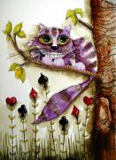 Alice In Wonderland Painting Metal Prints - Cheshire Cat Metal Print by Lucia Stewart