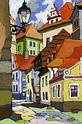 Buildings Prints - Chesky Krumlov Masna Street 1 Print by Yuriy  Shevchuk