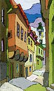 Decorativ Posters - Chesky Krumlov Street Nove Mesto Poster by Yuriy  Shevchuk