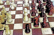 Challenging Digital Art Prints - Chess Board - Game in Progress 1 Print by Steve Ohlsen