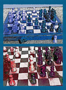 Chess Mixed Media Posters - Chess Board - Game in Progress Diptych Poster by Steve Ohlsen
