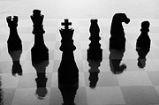 Knight Photo Prints - Chess Board And Pieces Print by Jon Schulte