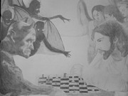 Milton Gore Drawings - Chess Game by Milton  Gore