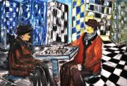 Chess Painting Posters - Chess Mania Poster by Evelina Popilian