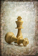 Depictions Posters - Chess pieces Poster by Bernard Jaubert