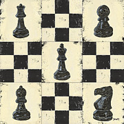 Black Painting Posters - Chess Pieces Poster by Debbie DeWitt