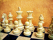 Chess Posters - Chess Pieces on board Poster by Helen  Bobis