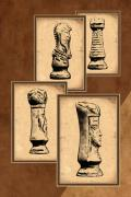 Parchment Posters - Chess Pieces Poster by Tom Mc Nemar