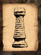 Old Digital Art Prints - Chess Rook Print by Tom Mc Nemar