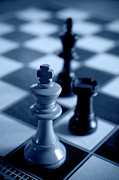 Chess Piece Posters - Chess; White King In Check-mate Position Poster by Adrian Pope