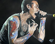 Singer Paintings - Chester Bennington by Tom Carlton