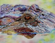 Alligator Painting Prints - Chester Print by Maria Barry