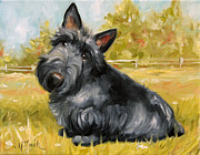 Scottish Terrier Puppy Prints - Chester Print by Mary Sparrow Smith