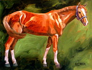Horses Drawings - Chestnut Champion by Susan A Becker